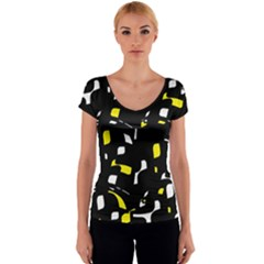 Yellow, black and white pattern Women s V-Neck Cap Sleeve Top