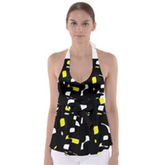Yellow, black and white pattern Babydoll Tankini Top