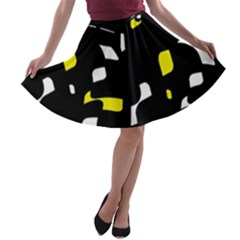 Yellow, black and white pattern A-line Skater Skirt