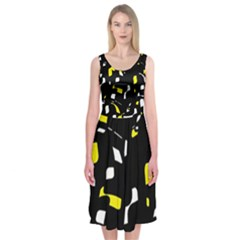 Yellow, black and white pattern Midi Sleeveless Dress