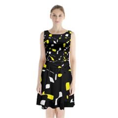 Yellow, black and white pattern Sleeveless Waist Tie Dress