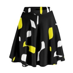 Yellow, black and white pattern High Waist Skirt