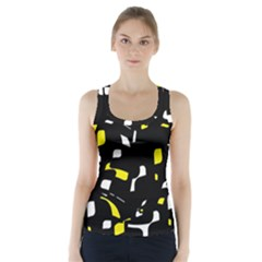Yellow, black and white pattern Racer Back Sports Top