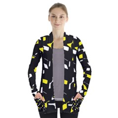 Yellow, black and white pattern Women s Open Front Pockets Cardigan(P194)