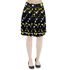 Yellow, black and white pattern Pleated Mesh Skirt
