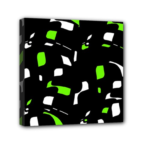 Green, black and white pattern Mini Canvas 6  x 6