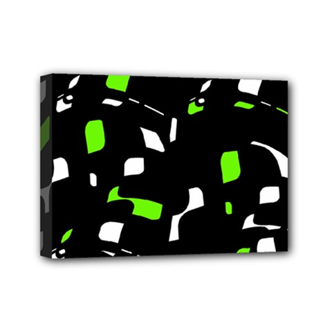 Green, black and white pattern Mini Canvas 7  x 5