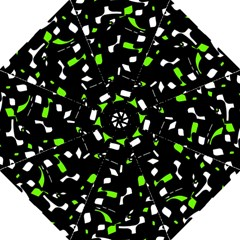Green, black and white pattern Folding Umbrellas