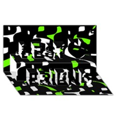 Green, black and white pattern Best Friends 3D Greeting Card (8x4)