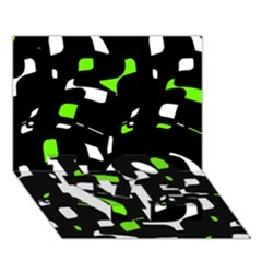 Green, black and white pattern LOVE Bottom 3D Greeting Card (7x5)
