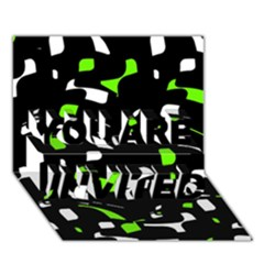 Green, black and white pattern YOU ARE INVITED 3D Greeting Card (7x5)
