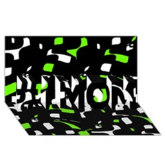 Green, black and white pattern #1 MOM 3D Greeting Cards (8x4)