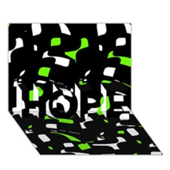 Green, black and white pattern HOPE 3D Greeting Card (7x5)