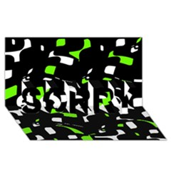 Green, black and white pattern SORRY 3D Greeting Card (8x4)