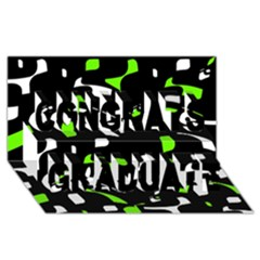 Green, black and white pattern Congrats Graduate 3D Greeting Card (8x4)