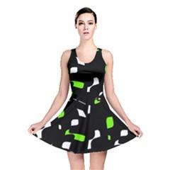 Green, black and white pattern Reversible Skater Dress