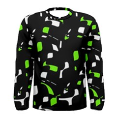Green, black and white pattern Men s Long Sleeve Tee