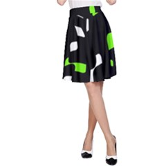 Green, black and white pattern A-Line Skirt