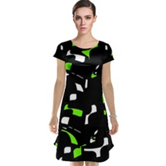 Green, black and white pattern Cap Sleeve Nightdress
