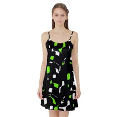 Green, black and white pattern Satin Night Slip