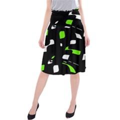 Green, black and white pattern Midi Beach Skirt