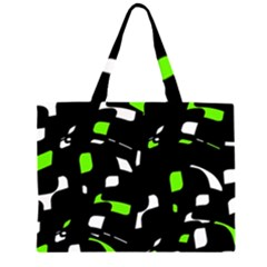 Green, black and white pattern Large Tote Bag