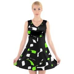 Green, black and white pattern V-Neck Sleeveless Skater Dress
