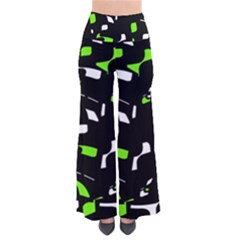 Green, black and white pattern Pants