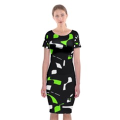 Green, black and white pattern Classic Short Sleeve Midi Dress