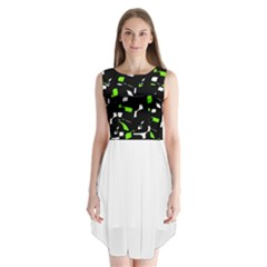 Green, black and white pattern Sleeveless Chiffon Dress