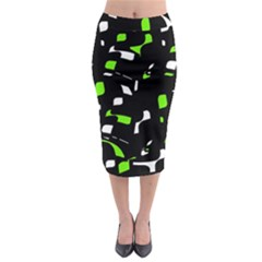 Green, black and white pattern Midi Pencil Skirt