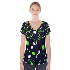 Green, black and white pattern Short Sleeve Front Detail Top