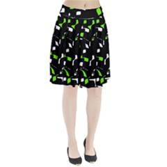 Green, black and white pattern Pleated Mesh Skirt