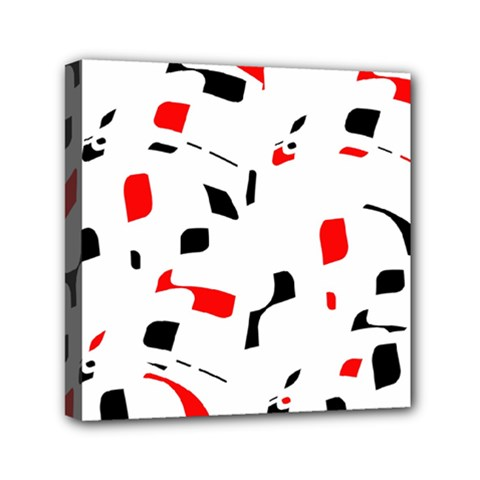 White, red and black pattern Mini Canvas 6  x 6