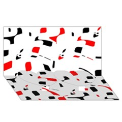 White, red and black pattern Twin Heart Bottom 3D Greeting Card (8x4)