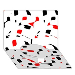 White, red and black pattern Circle Bottom 3D Greeting Card (7x5)