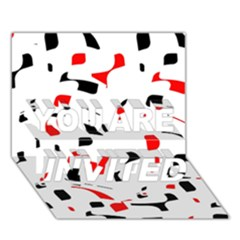 White, red and black pattern YOU ARE INVITED 3D Greeting Card (7x5)