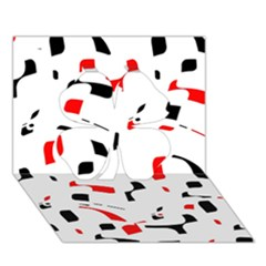 White, red and black pattern Clover 3D Greeting Card (7x5)