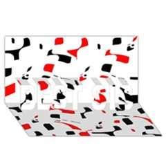 White, Red And Black Pattern Best Sis 3d Greeting Card (8x4)