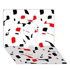 White, red and black pattern Ribbon 3D Greeting Card (7x5)