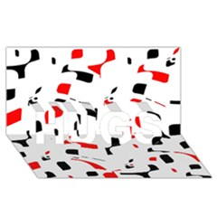 White, red and black pattern HUGS 3D Greeting Card (8x4)