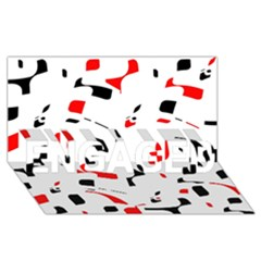 White, red and black pattern ENGAGED 3D Greeting Card (8x4)