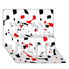 White, Red And Black Pattern Work Hard 3d Greeting Card (7x5)