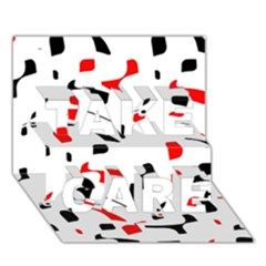 White, red and black pattern TAKE CARE 3D Greeting Card (7x5)