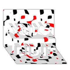 White, red and black pattern You Did It 3D Greeting Card (7x5)