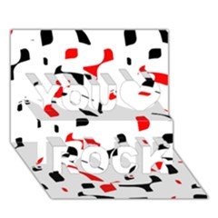White, red and black pattern You Rock 3D Greeting Card (7x5)