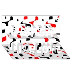 White, red and black pattern Laugh Live Love 3D Greeting Card (8x4)
