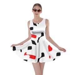 White, red and black pattern Skater Dress