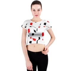White, red and black pattern Crew Neck Crop Top