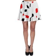 White, red and black pattern Skater Skirt